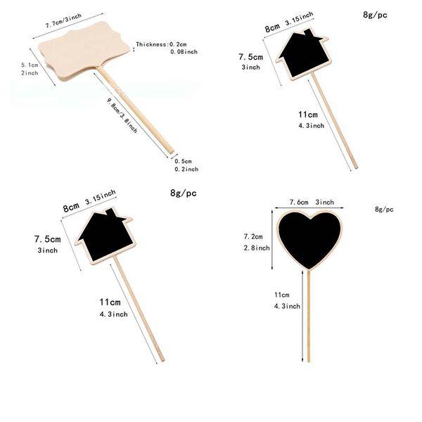 top popular 50pcs Retangle Mini Chalkboard Blackboard Wordpad Message Board Clip Stick Stand Memo Wedding Decoration Name Tag Plug In Plate 2021