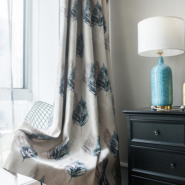 Tela de cortina idílicas cortinas de país americano cortinas de impresión de sombra de seda negra gruesa plumas retro belleza inteligente