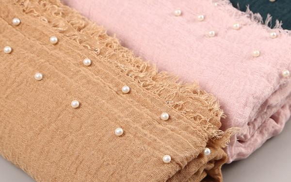 10 Unids / lote Mujeres Llanura Burbuja Perlas de Algodón Arruga bufanda Mantón Sólido Crumple Perla Wrap Pashminas Venda Musulmán Hijab