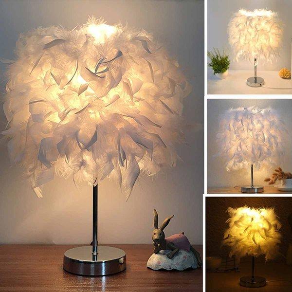 Plume abat-jour en métal Table Lampe de chevet Bureau Atmosphere Vintage Veilleuse Décor de Noël doux Vintage Chambre Étude de Chambre