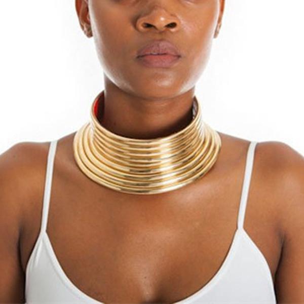 Vintage Statement Choker Halskette Frauen Gold Farbe Leder Kragen Maxi Halskette afrikanischen Schmuck einstellbare Halsreifen groß