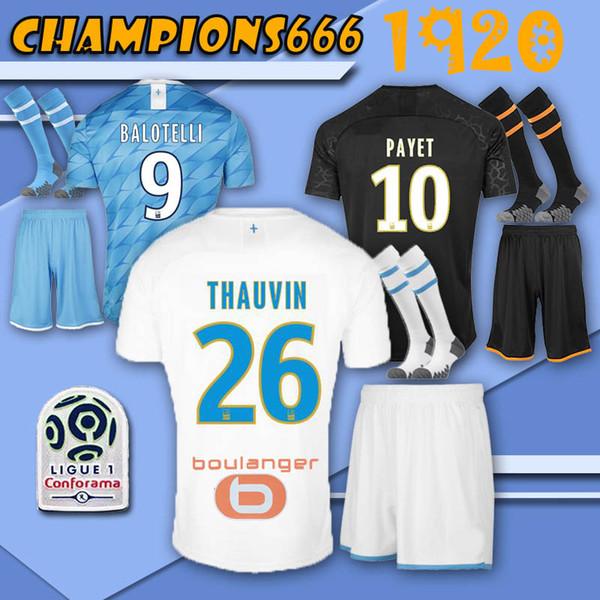 2019 2020 Thailandia PAYET Marsiglia la maglia da calcio completa con calze Olympique 26 THAUVIN L.GUSTAVO maglie da calcio con le calze