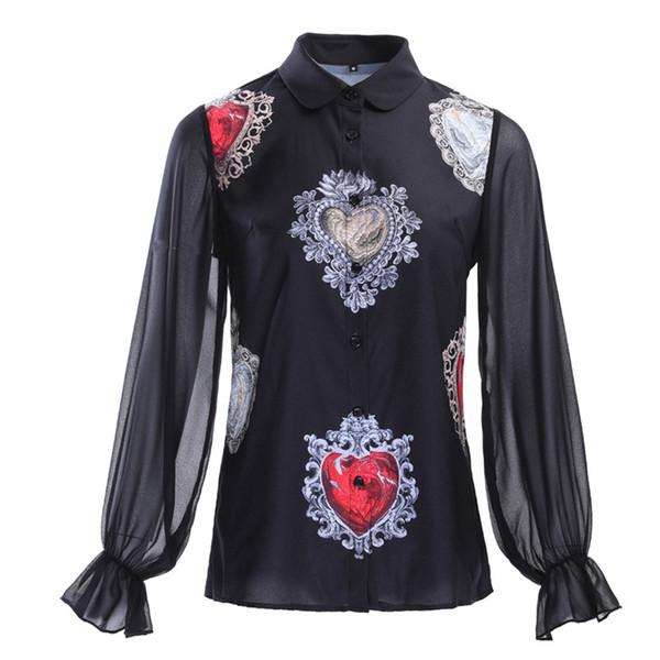 Runway Designing Women Summer Fashion Lantern Sleeve Vintage Shirt Print Pattern Plus Size Stylish Vintage Blouse