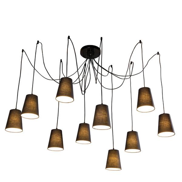 Moderna araña trenzada araña negra / blanca grande DIY 10 cabezas Clústeres de tela Colgante cortinas lámpara de techo e14 iluminación