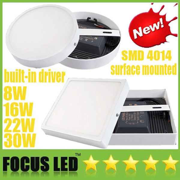 Surface Mounted 8W 16W 22W 30W Round / Square LED Panel Lights Built in driver Downlights Fixture Ceiling Down Lights Warm/Cool white CE UL