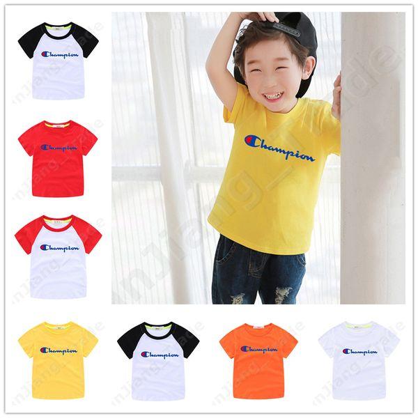Unisexe Champions Lettre Enfants T-shirt D'été À Manches Courtes Sport Top Casual Tees Enfant Enfants Mode Garçons Filles T-shirts 90-160cm A5901