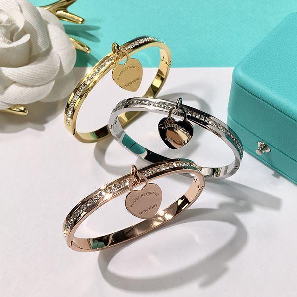 2018 nueva marca Double T fashion acero inoxidable Marca corazón pulseras para las mujeres con diamante cz amor pulsera nueva york joyería fina