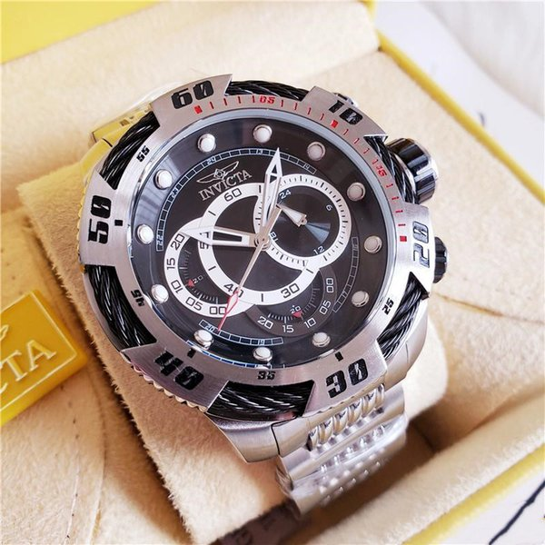 2109 TOP Quality All dial Working HOT SALE INVICTA MENS Silver WATCH TRITNITE NIGHT GLOW CHRONO WRISTWATCH