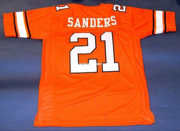 Cheap retro #21 BARRY SANDERS CUSTOM OKLAHOMA STATE JERSEY OSU HEISMAN orange Mens Stitching High-end Size S-5XL Football jerseys College N