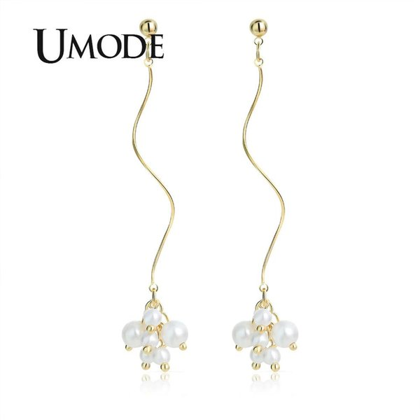 UMODE 2019 New White Simulated Pearl Long Twisted Tassel Drop Earring for Women Classic Gold Color Jewelry Brincos Drops AUE0514
