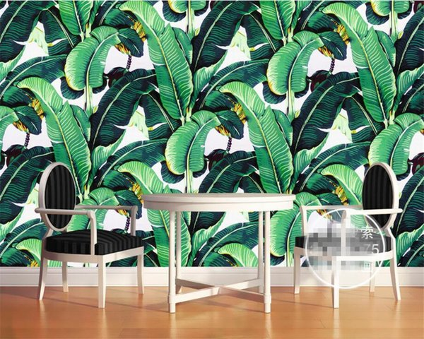 Beibehang Home Decorative Wall Wallpaper European Style Retro Hand Painted Rainforest Plant Banana Leaf Photo 3D Wallpaper mural