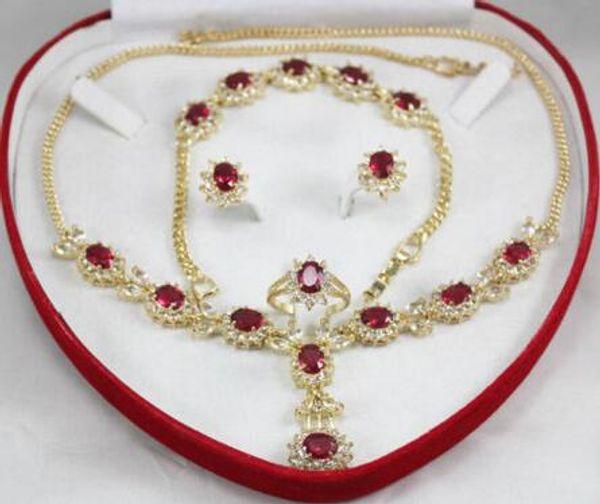 trasporto reale di cerimonia nuziale delle donne reali Disegno affascinante incastonato zircone rosso collana orecchini set gioielli in argento