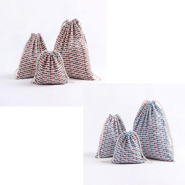 Cartoon fish pattern 100% cotton linen Drawstring Bag Clothes travel Store organizer dust cloth bag home Sundry kids toy storage bags