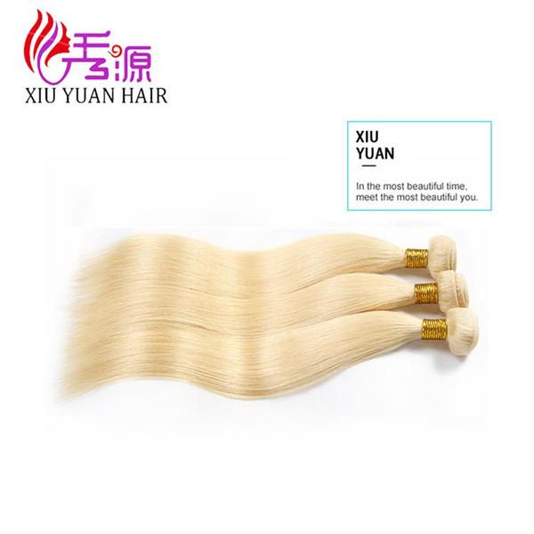 Miel Rubia Barato Peruano Recto Extensiones de cabello humano Remy de la Virgen 613 Rubio Recto Remy de pelo humano 3 paquetes al por mayor