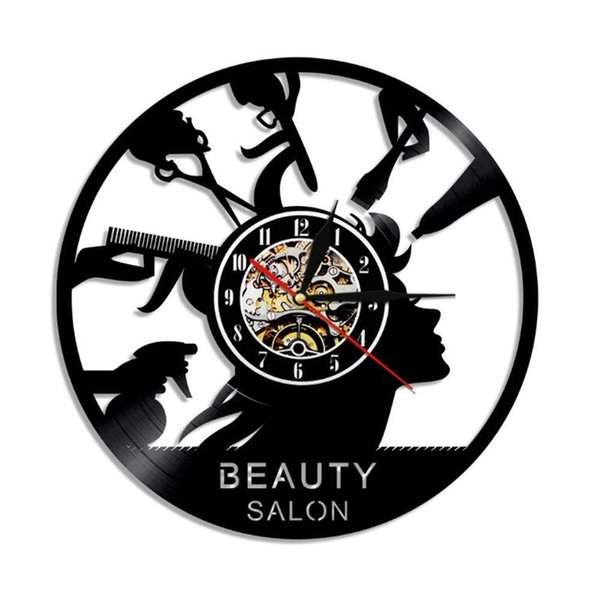 Beauty salon New 12 inch Vinyl Record Wall Clock Round Black Wall Clock Creative Clock Modern Home Decor Simple Living Room Decoration