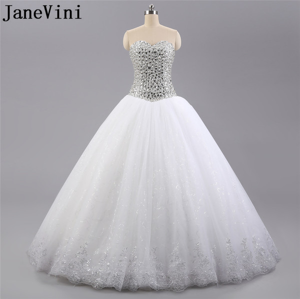 JaneVini 2019 Bling Wedding Dress With Crystals Beadings Ball Gown Tulle Luxury Sequin Sweetheart Lace-Up Bridal Bride Dresses