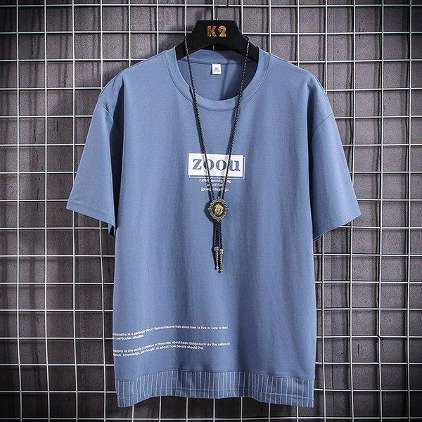 Azul T-shirt Homens
