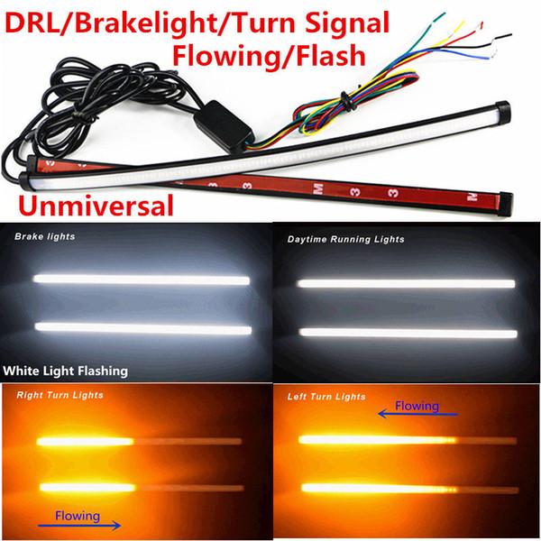 best selling 2PCS Lot 30cm Switchback Flowing Car DRL LED Knight Rider Turn Signal Brake Light Strip