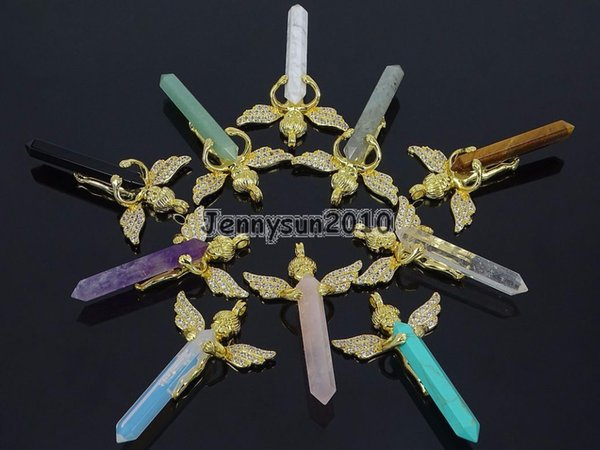 Natural Gems Stone Reiki Chakra Angel Wing Hexagonal Pendant Charm Beads Gold Jewelry Design 10Pcs/Pack