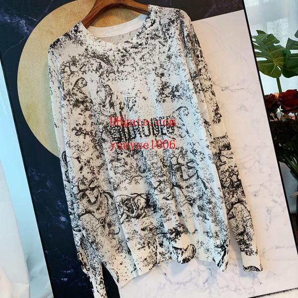 2019 marca moda feminina tops Hot perfuração zoo impressão protetor solar top T-shirt solto respirável malha camisola top quality mulheres roupas TS-4