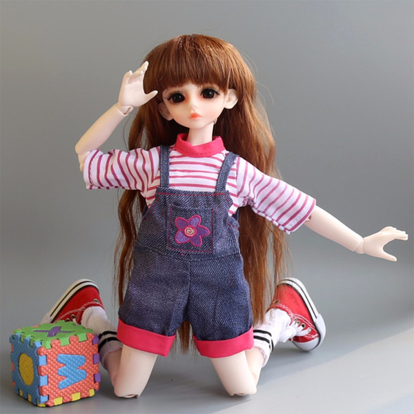 Subcluster 2 Pcs/Set T-Shirt with Suspenders Pant Fashion kids 1/6 BJD Doll Accessories Toys Girls Gift Doll Clothes