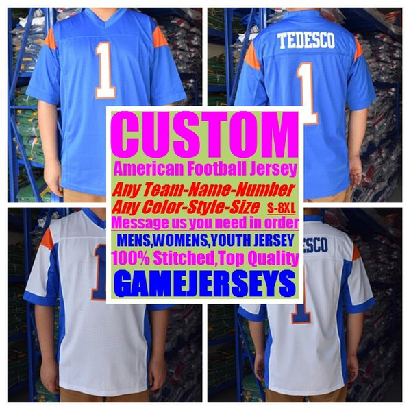 top popular Custom college american football jerseys mens womens youth kids soccer rugby stitched authentic jersey 4xl 5xl 6xl 7xl 8xl Outdoor clothes 2019