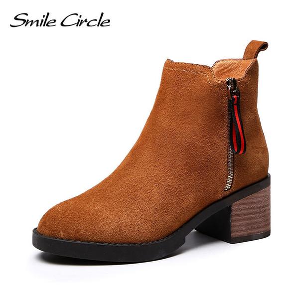 Mulheres de alta qualidade Ankle Boots de camurça de Salto Alto 2018 Outono Inverno Plush Quente dedo do pé Redondo Botas Curtas Senhoras Sapatos