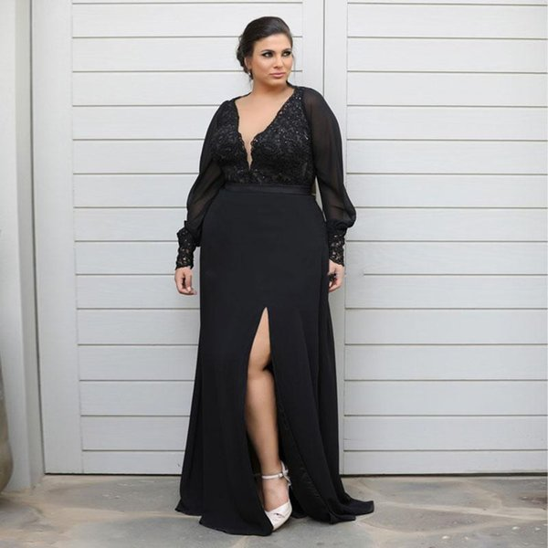 Chic Lace Black Mermaid Plus Size Mother Of The Bride Dresses Long Sleeves Side Split Evening Gowns Floor Length Chiffon Prom Dress