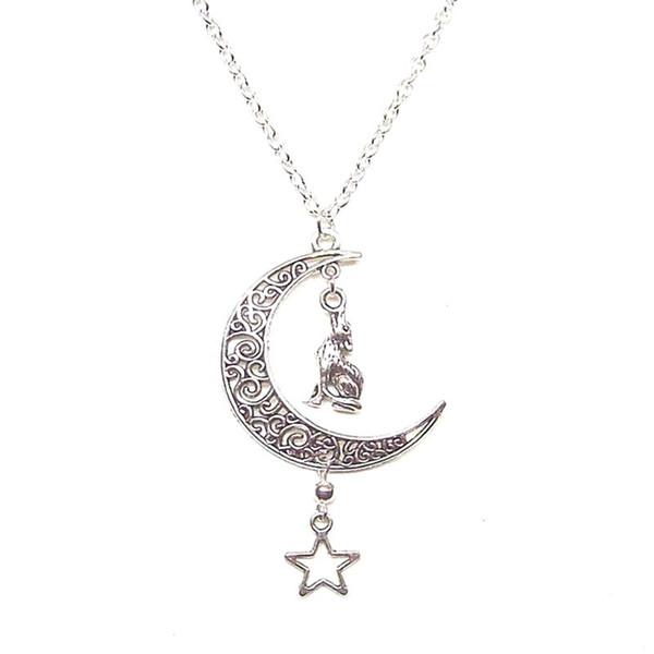 Yıldız Crescent Moon Kurt Kolye Pentagramı Vintage Gümüş Cadı Gotik Bildirimi Collares Zincir Kolye Kadınlar Için Moda Takı Hediye