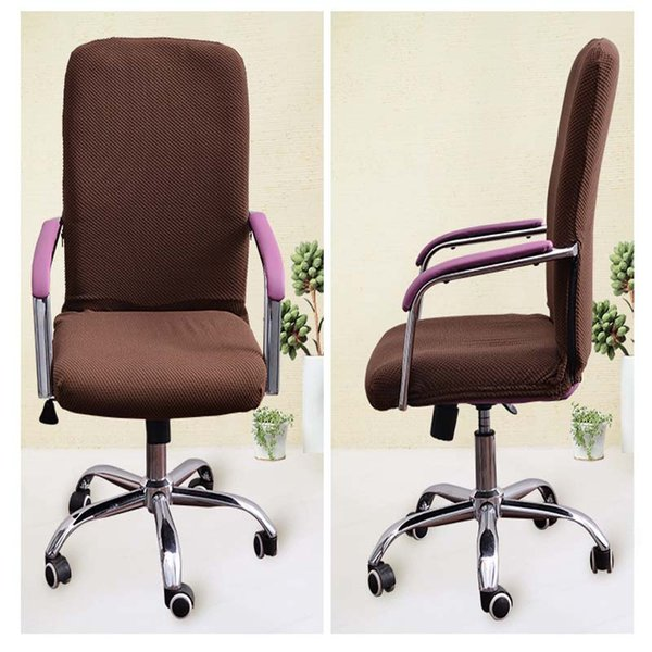 Solid Swivel Chair Cover Spandex Stretch Removable Office Computer Turning Chair Cover Polar Fleece Elastic Slipcover Seat Case