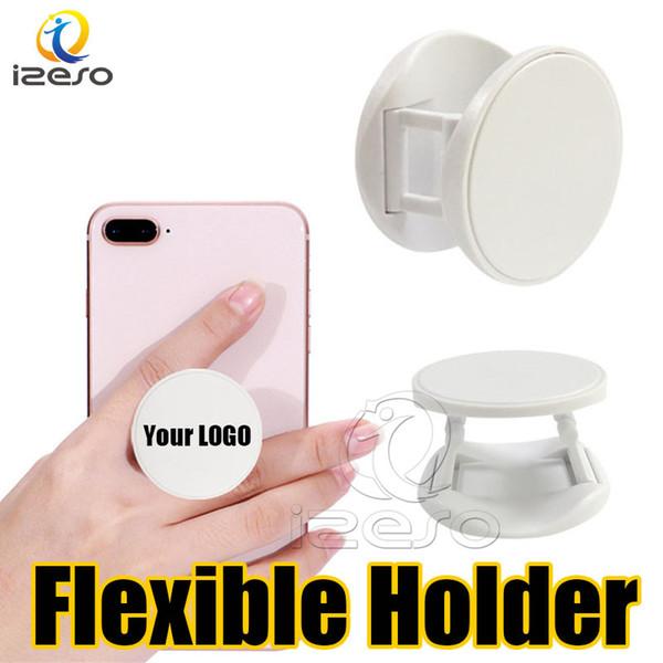 Özel LOGO Telefonu Sapları Esnek Özelleştirilmiş Tasarım Cep Telefonu Tutucu Standı Gerçek 3 M Tutkal Parmak Kavrama iPhone 11 Pro Samsung Not 10 için izeso