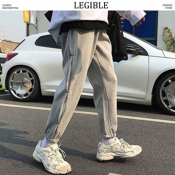 legible harem pants mens casual solid sweatpants male korean joggers pants hiphop loose men