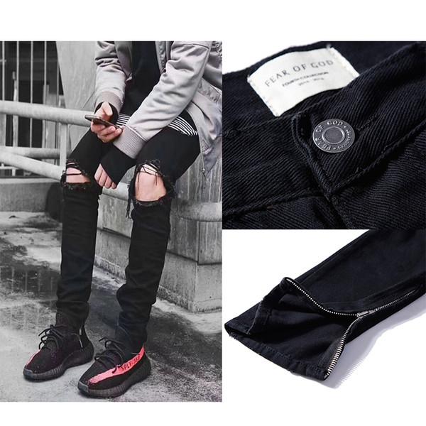 FASCINO DI DIO Jeans foro Jeans a vita media slim in denim afflitto Pantaloni gamba uomo Hip Hop Cerniere corte Justin Bieber Jeans