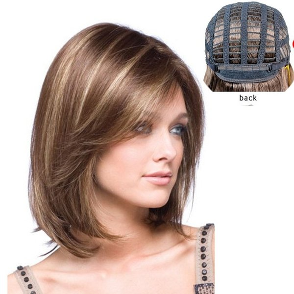 Femmes Court Raides Bob Perruque Pour Femmes Mixte Brun Blonde Chaleur Resistan Synthétique Perruques Cheveux