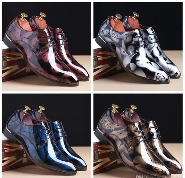 2018 Lüks Moda İngiliz Erkek Glitter Baskı Flats Erkekler Elbise Gölge Patent PU Deri Derby Masculino Damat İş Düğün Oxford ayakkabıları