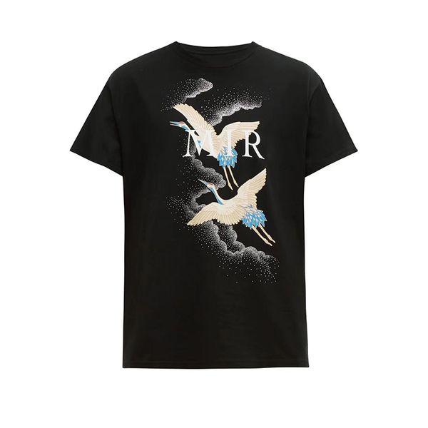 Роскошные мужские дизайнер футболки Летняя футболка Crane печать Дизайнер Футболка Hip Hop Мода Мужчины Женщины с коротким рукавом Тис Размер S-XXL