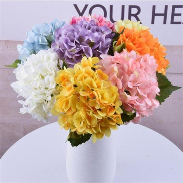 47CM Artificial Hydrangea Flower Head Fake Silk Single Real Touch Hydrangeas 16 Colors for Wedding Centerpieces Home Party Decorative Flower