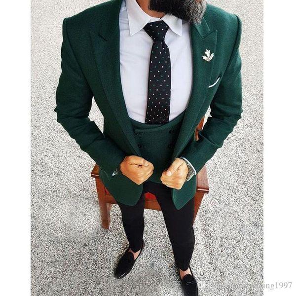 Tailor Made Men Suits 2018 Dark Green Blazer Three Piece Jacket Black Pants Vest Slim Fit Groom Wedding Tuxedos