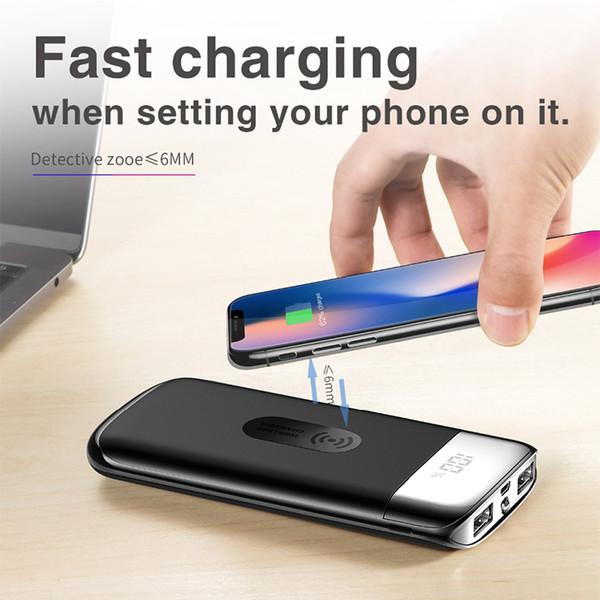 Banco de potência sem fio 10000 mah carregador portátil de bateria externa 2 usb LED powerbank qi carregamento rápido para iphone samsung telefone inteligente