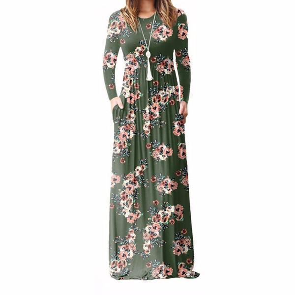 Xxl Plus Size Long Dress Women 2018 Autumn New Printed Maxi Dress Dropship Casual Floor-length Sundress Pockets Party 7 Colors T19052905