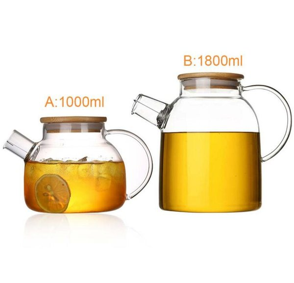 100 Newest Heat-Resistant Borosilicate Glass Tea Pot Kettle Hot Cold Resistant Dual Use Bamboo Teapot for Coffee shop supplies wholesale