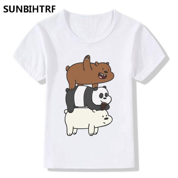 Kinder, die wir nackten Bären drucken lustiges T-Shirt Karikatur trägt große Jungen- / Mädchen-Kurzschluss-Hülsen-Spitzent-shirt Sommer-Kinder beiläufig