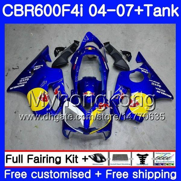 Bodys For HONDA CBR600 FS CBR 600F4i 2004 2005 2006 2007 281HM.31 CBR600 F4i CBR 600 F4i CBR600F4i 04 05 06 07 Fairing kit Blue yellow red