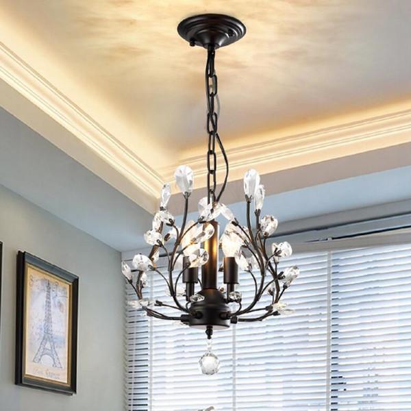 Candelabros de cristal de 3 luces Luces de techo Lámparas colgantes de cristal Accesorios de luz de techo negro para sala de estar Dormitorio Comedor Porche