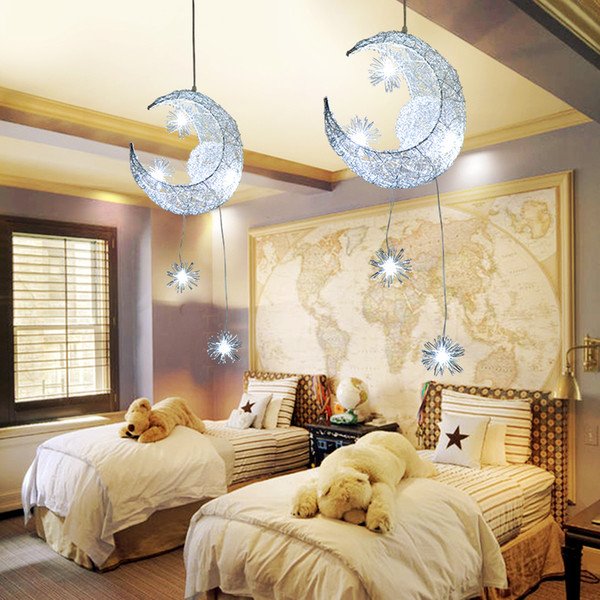 Moon Star Chandelier Modern Ceiling Lamps Children Kids Bedroom Hanging  Lamp LED Pendant lamp Christmas Decorations For home Fixture Light