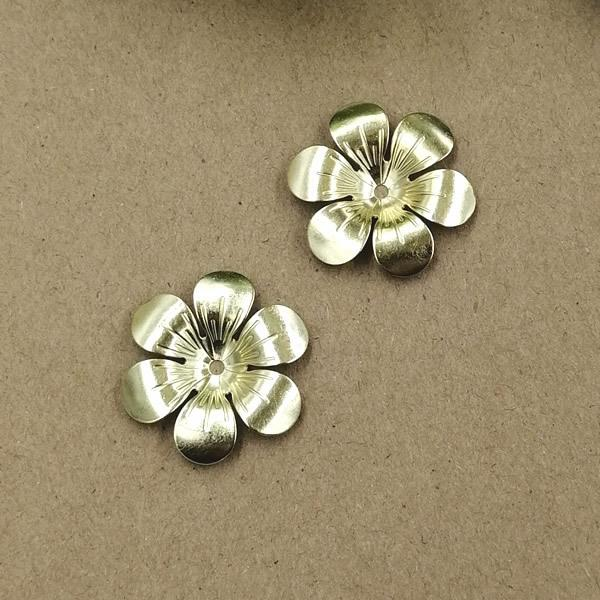 100pcs 25mm Gold Silver copper flower cap charms metal pendants Alloy DIY Jewelry Accessories Headwear Hair Jewelry Handicraft Material