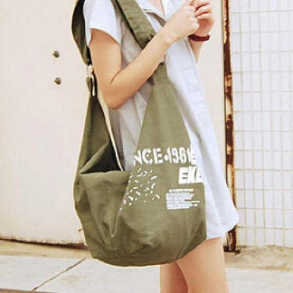 Toptan-2016 Hotfashion kadın mektup bez çantalar marka tasarım omuz çantası bayan kaliteli çanta 4 renk