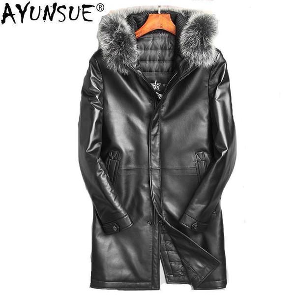 AYUNSUE Genuine Sheepskin Leather Jacket Men Real Fox Fur Collar Hooded Coat Winter Duck Down Jacket Chaqueta Cuero Hombre ZL860