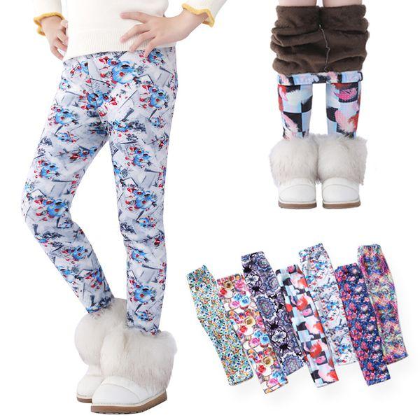 Sonbahar Kış Çocuk Kız Legging Bebek Pamuk Sıcak Kalem Pantolon Çocuk Çiçek Baskılı Kalınlaşma Pantolon Kadife tozluk 7 renk GGA2649