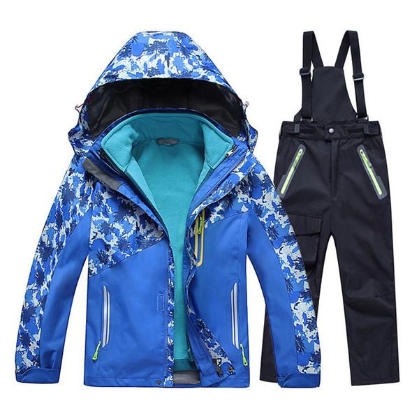 2020 Nouveaux enfants Garçons Filles ski veste + pantalon costume neige DEGRÉ hiver Wterpoof -20 à 30 Set Vêtements pour enfants Manteau Camouflage
